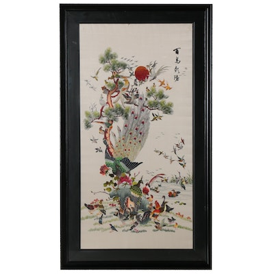 Chinese Silk Embroidery of Birds and Flowers, Late 20th Century