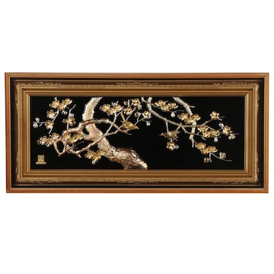 Japanese Metal Relief Sculpture of Cherry Blossoms and Birds, Late 20th Century
