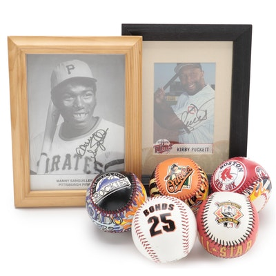 Kirby Puckett and Manny Sanguillen Signed Prints with Logo MLB Baseballs