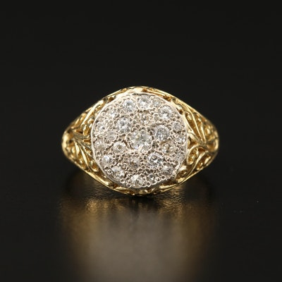 18K Diamond Ring with Openwork Detail