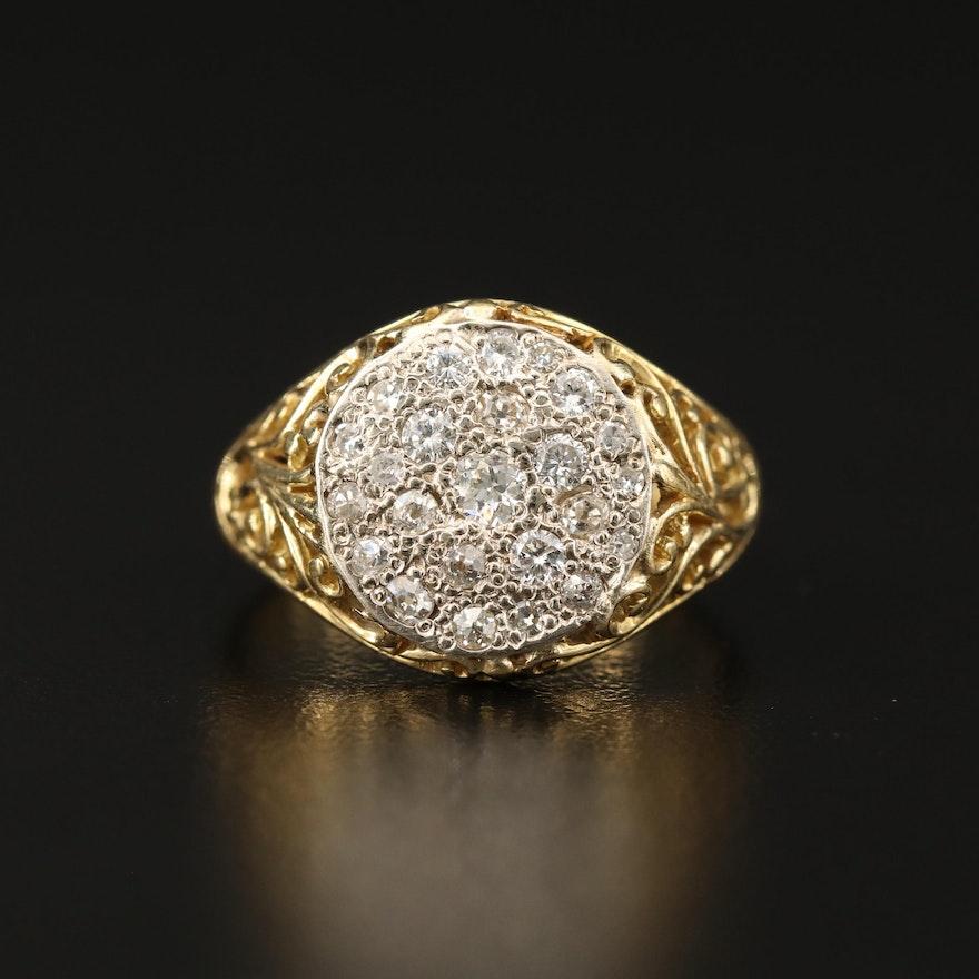 18K Diamond Ring with Openwork Detail