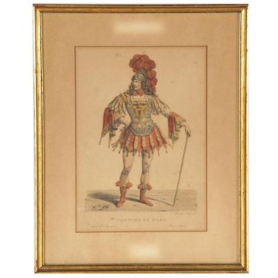 """François-Séraphin Delpech Lithograph """"Costume De Mars.,"""" 19th Century"""