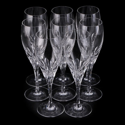 "Gorham ""Diamond Clear"" Crystal Fluted Champagne Glasses"