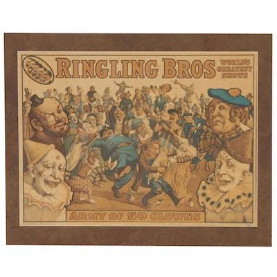"""Halftone Mini Poster """"Ringling Bros World's Greatest Shows"""" Late 20th Century"""
