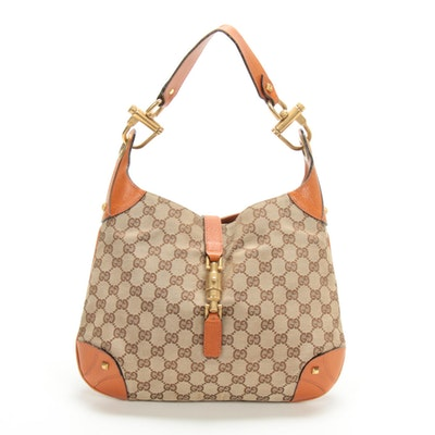 Gucci Jackie Bag in GG Canvas and Textured Leather with Piston Lock