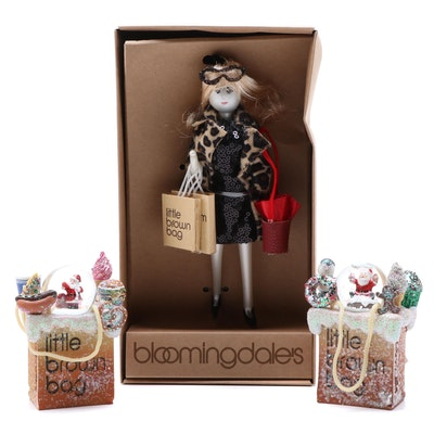 "Bloomingdale's ""Little Brown Bag"" Shopper Ornament and Snow Globes"