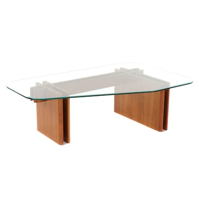 Danish Modern Teak and Glass Top Coffee Table by Designer Gustav Gaarde Prekante