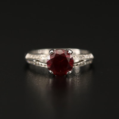 14K Ruby and Diamond Split Shank Ring