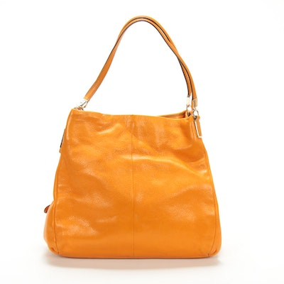 Coach Madison Phoebe Shoulder Bag in Grained Bright Mandarin Leather