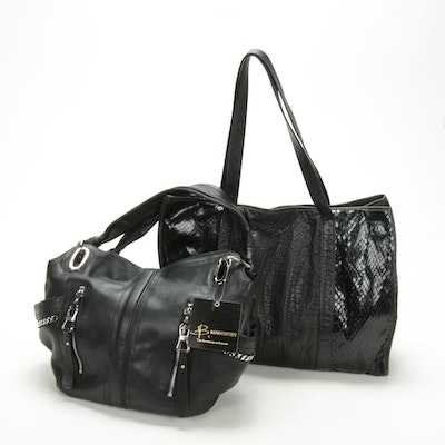 B Makowsky Black Leather Hobo Bag and Carlos Falchi Snakeskin and Leather Tote