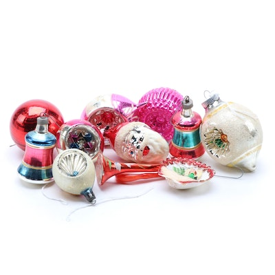 Polish, German, and American Embellished Blown Glass Christmas Ornaments