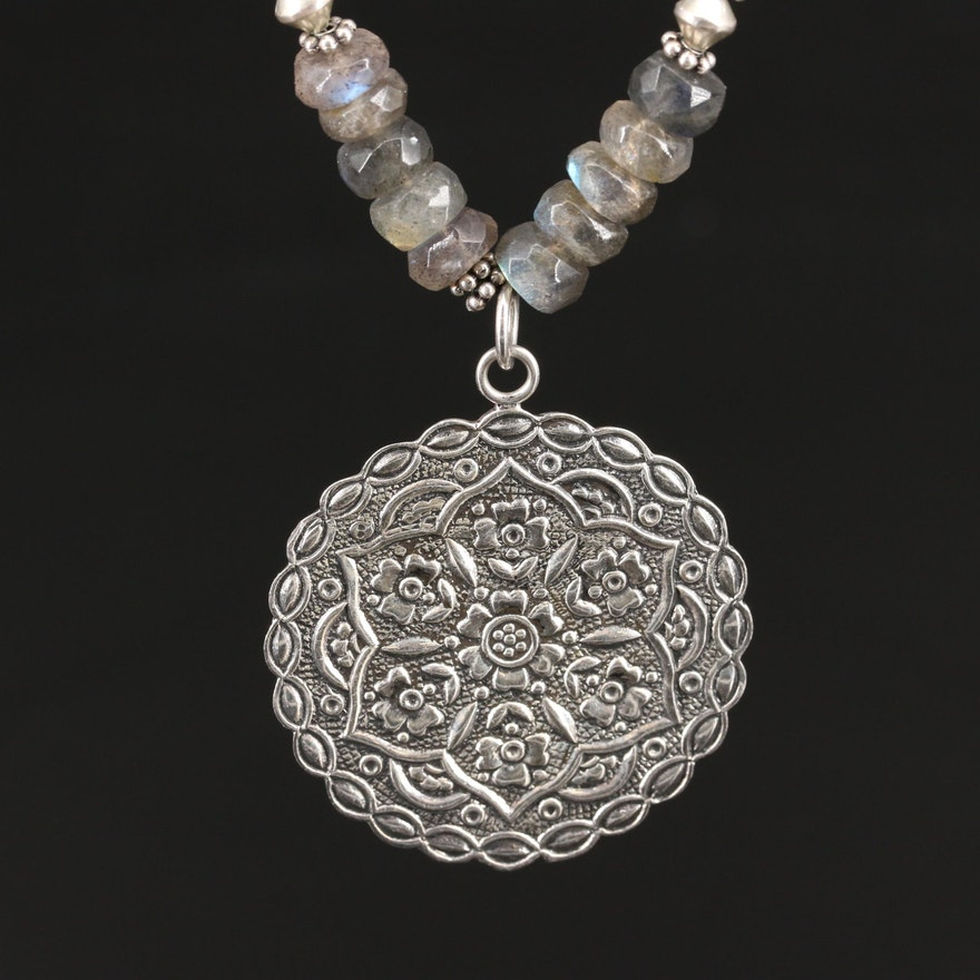 Sterling Kyanite and Labradorite Beaded Necklace with Lotus Flower Medallion