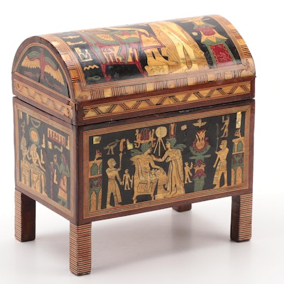 Egyptian Marquetry and Mother-of-Pearl Dome Top Casket