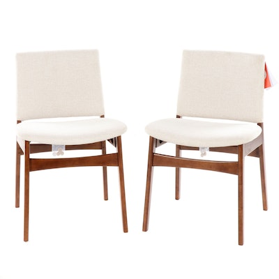 "Article's ""Nosh"" Mid Century Modern Walnut Upholstered Dining Chairs"