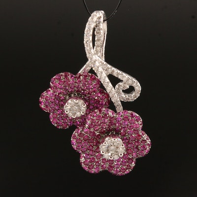 14K Ruby and Diamond Flower Pendant