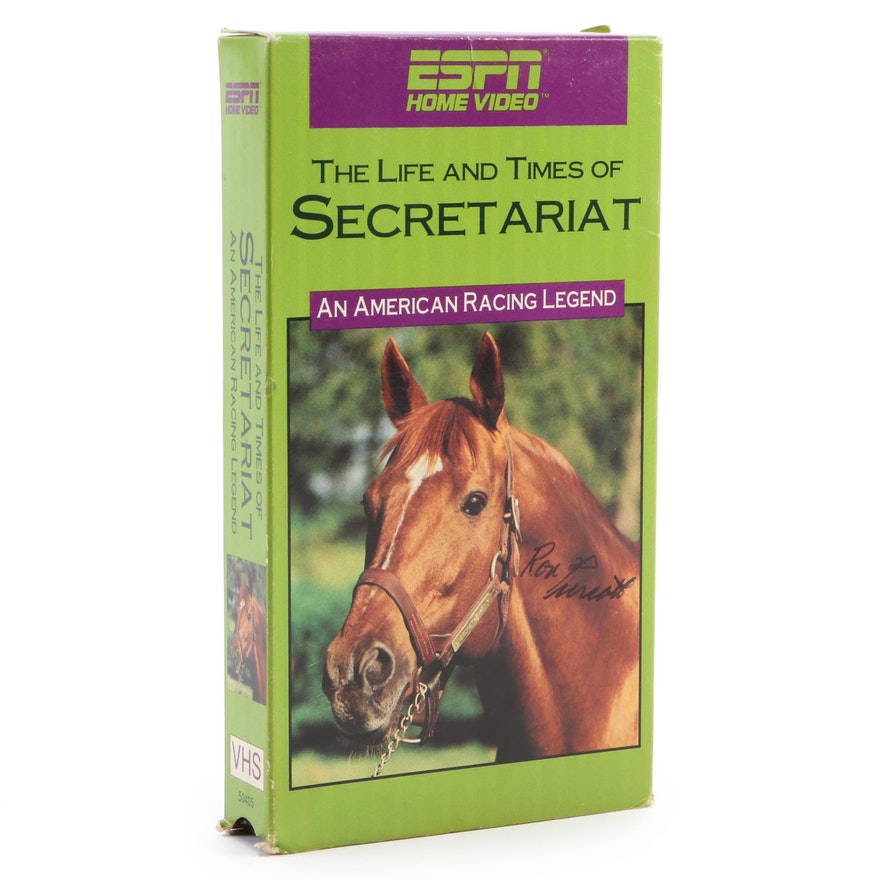 """""""The Life and Times of Secretariat"""" VHS Signed by Jockey Ron Turcotte"""