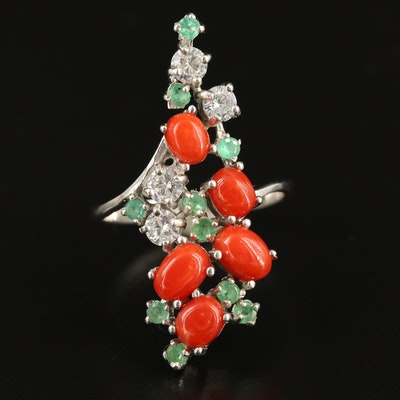 Sterling Coral, Emerald and Cubic Zirconia Cluster Ring