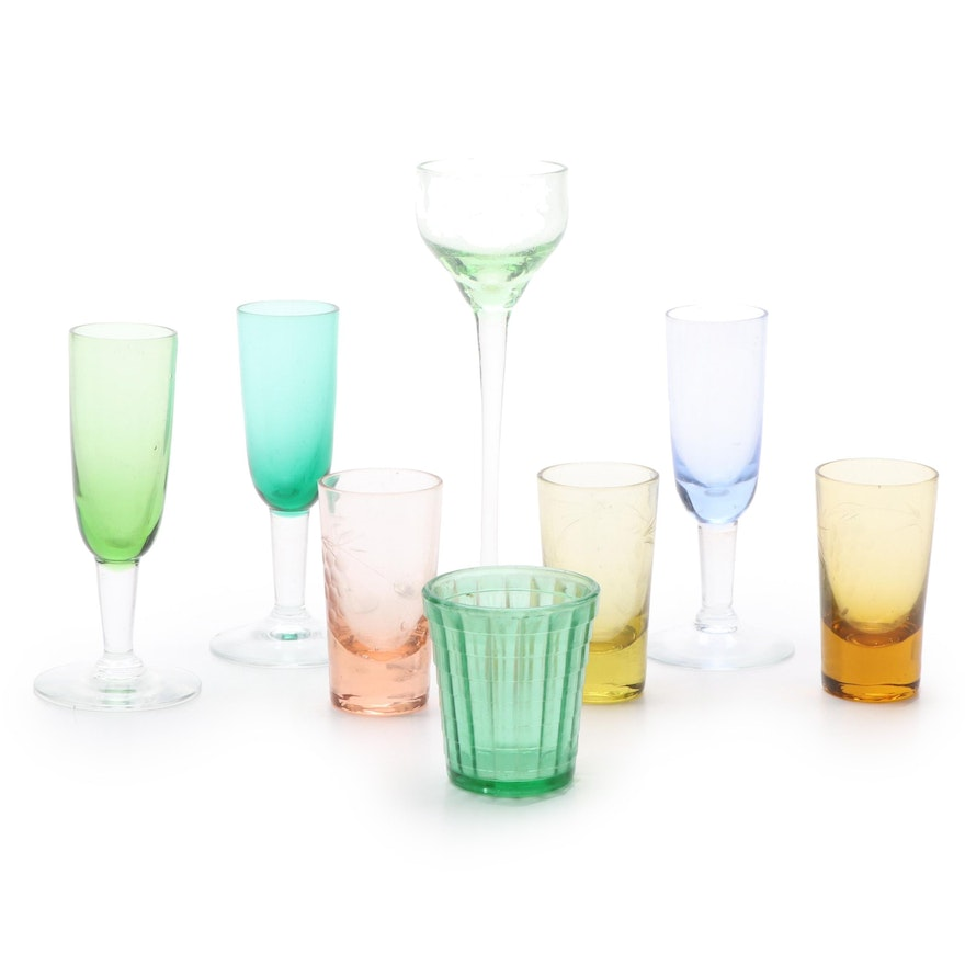 Collection of Multi Colored Shot Glasses and Cordials