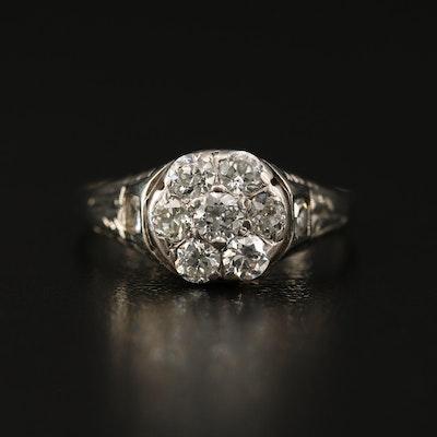 Vintage 14K and 18K Diamond Cluster Ring