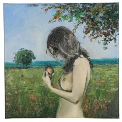 "Garncarek Aleksander Oil Painting ""Z Jabtkiem"", 2020"