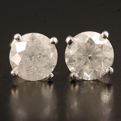 14K 2.97 CTW Solitaire Diamond Studs