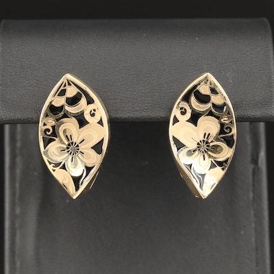14K Enamel Floral Navette Earrings
