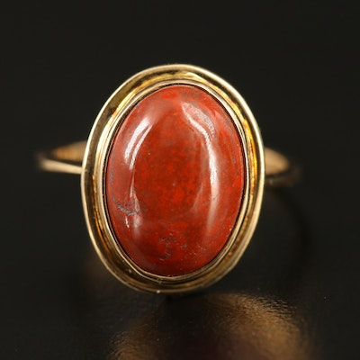 14K Oval Red Jasper Cabochon Ring