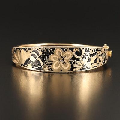 14K Floral Enamel Hinged Bracelet