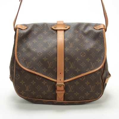 Louis Vuitton Saumur 35 in Monogram Canvas and Vachetta Leather