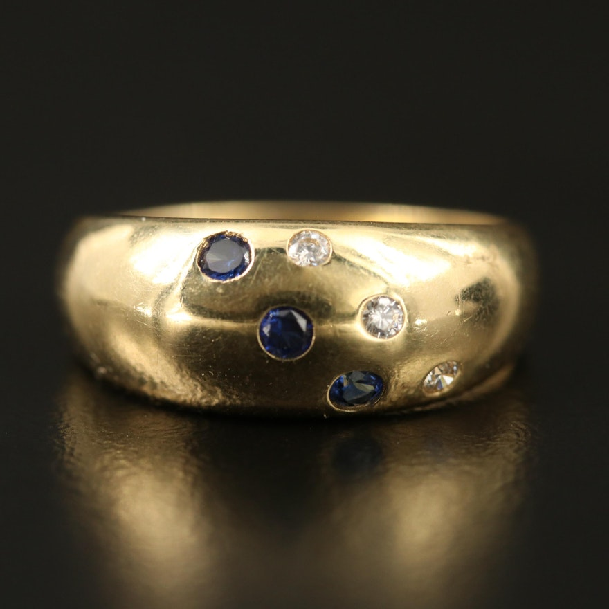 14K Sapphire and Cubic Zirconia Dome Ring
