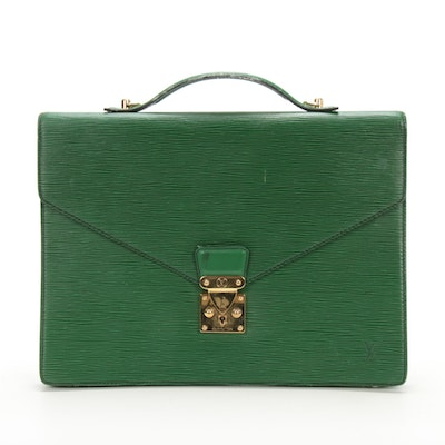 Louis Vuitton Serviette Ambassadeur Briefcase in Borneo Green Epi Leather