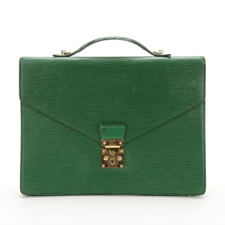 Louis Vuitton Serviette Ambassadeur Briefcase in Borneo Green Epi Leather