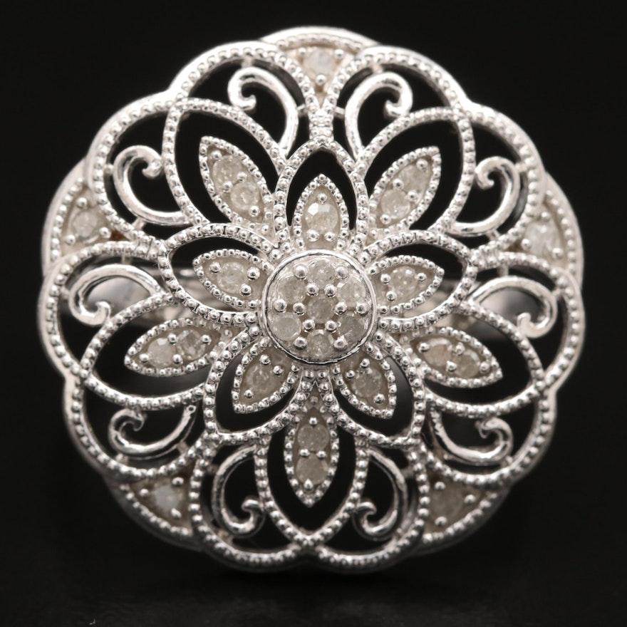 Sterling Diamond Floral Milgrain Ring