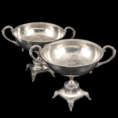 Pair of Indian Silver Plate Centerpiece Bowls