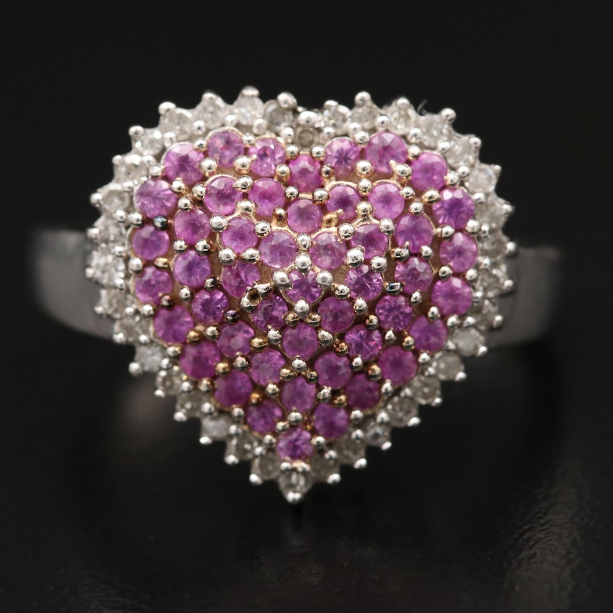 Sterling Silver Sapphire and Diamond Heart Ring