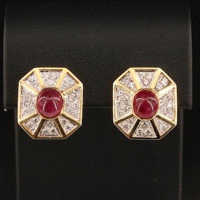18K Ruby and 1.25 CTW Diamond Earrings