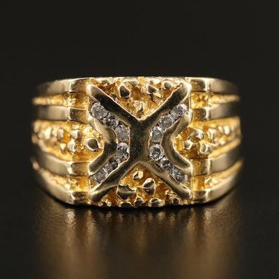 "14K Diamond ""X"" Ring with Nugget Motif"