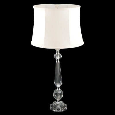 Lucite Table Lamp with Fabric Shade, Contemporary