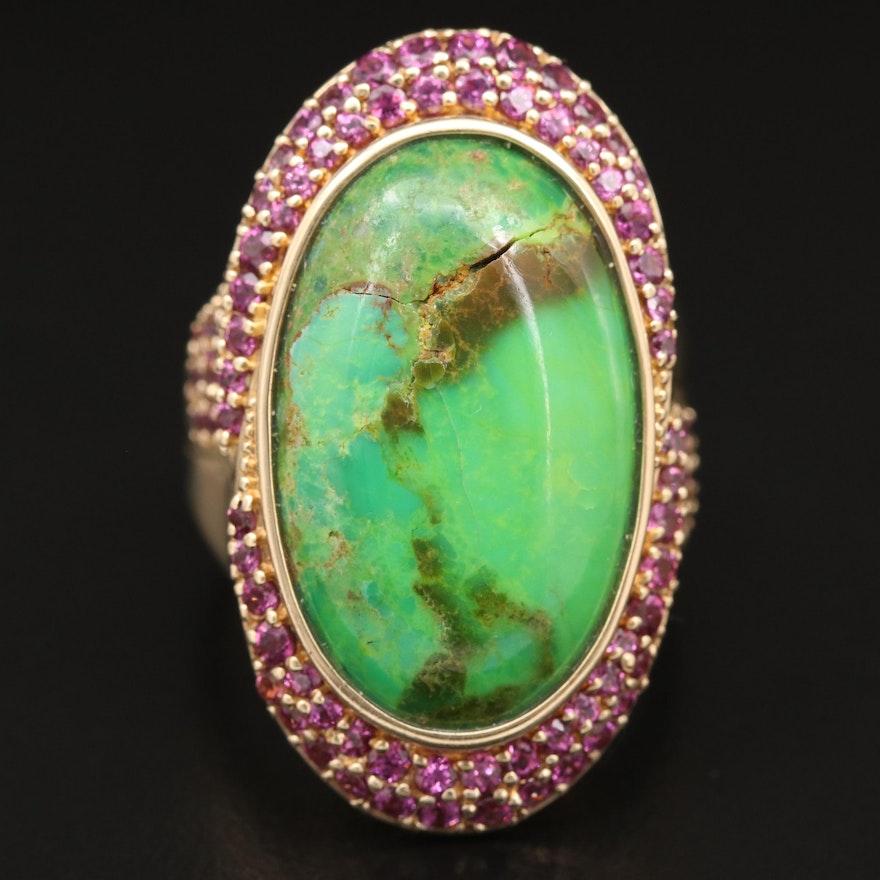 14K Turquoise and Rhodolite Garnet Pointer Ring