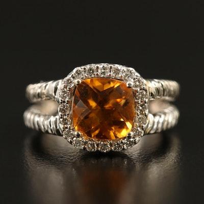 14K Citrine and Diamond Halo Split Shank Ring