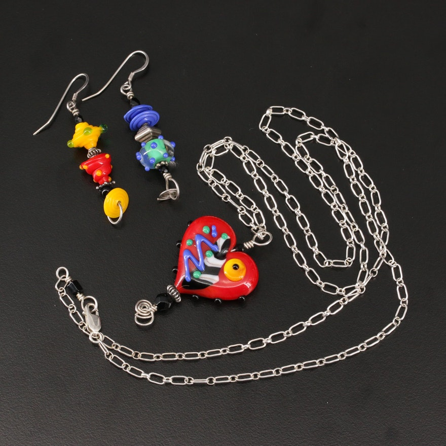 Faith Wickey Lampwork Glass Dangle Earrings and Heart Pendant Necklace