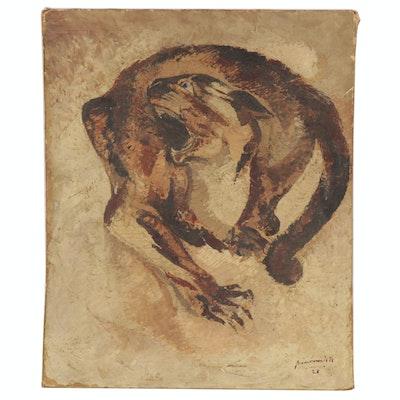 """Pierre Van Parys Bourdelle Oil Painting """"Crazy Cat,"""" 1928"""