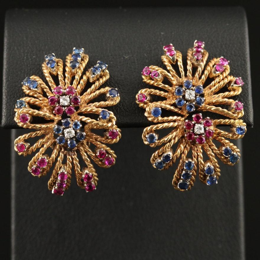 Circa 1960 Laykin et Cie 18K Diamond, Ruby and Sapphire Earrings