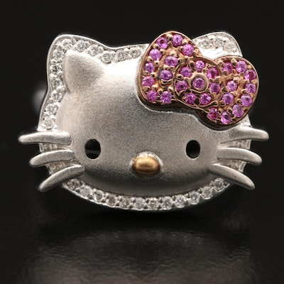 Sanrio Sterling Silver Diamond and Sapphire Hello Kitty Ring with 18K Accent