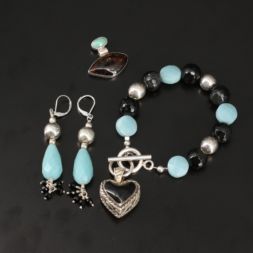 Sterling Heart Bracelet, Earrings and Pendant with Black Onyx and Turquoise