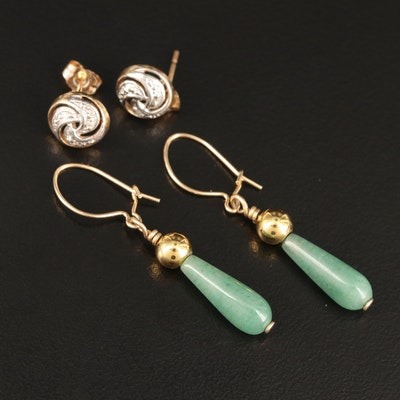 14K Aventurine Drop Earrings and 10K Diamond Swirl Stud Earrings