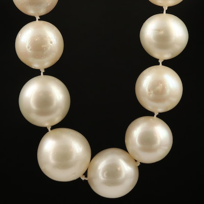 Hand Knotted Pearl Necklace with 18K Clasp