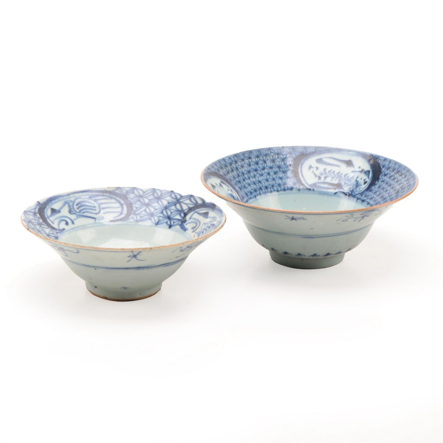 Chinese Blue and White Ceramic Bowls, Antique