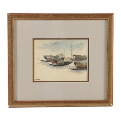 Vietnamese Watercolor and Ink Painting of Boats, 1996