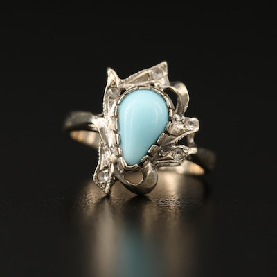 Vintage 10K Turquoise and Spinel Biomorphic Style Ring